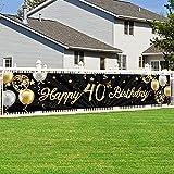 40 Geburtstag Dekoration, 40. Geburtstag Party Dekor Schwarz Gold für Frau Mann, Extra Große Stoff Schild Poster zum 40. Jahrestag Hintergrund Banner 40. Geburtstag Party Lieferunge, 180 x 40 cm