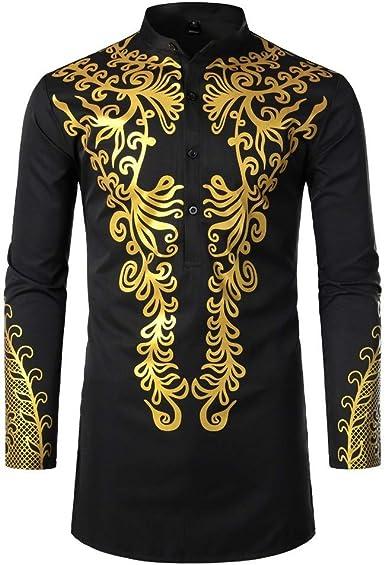 Camisas Hombres, Dragon868 Cuello de Estilo Africano para Hombre Traje Largo Casual Camisas de Manga Larga con Estampado Africano Camisa de Cuello ...