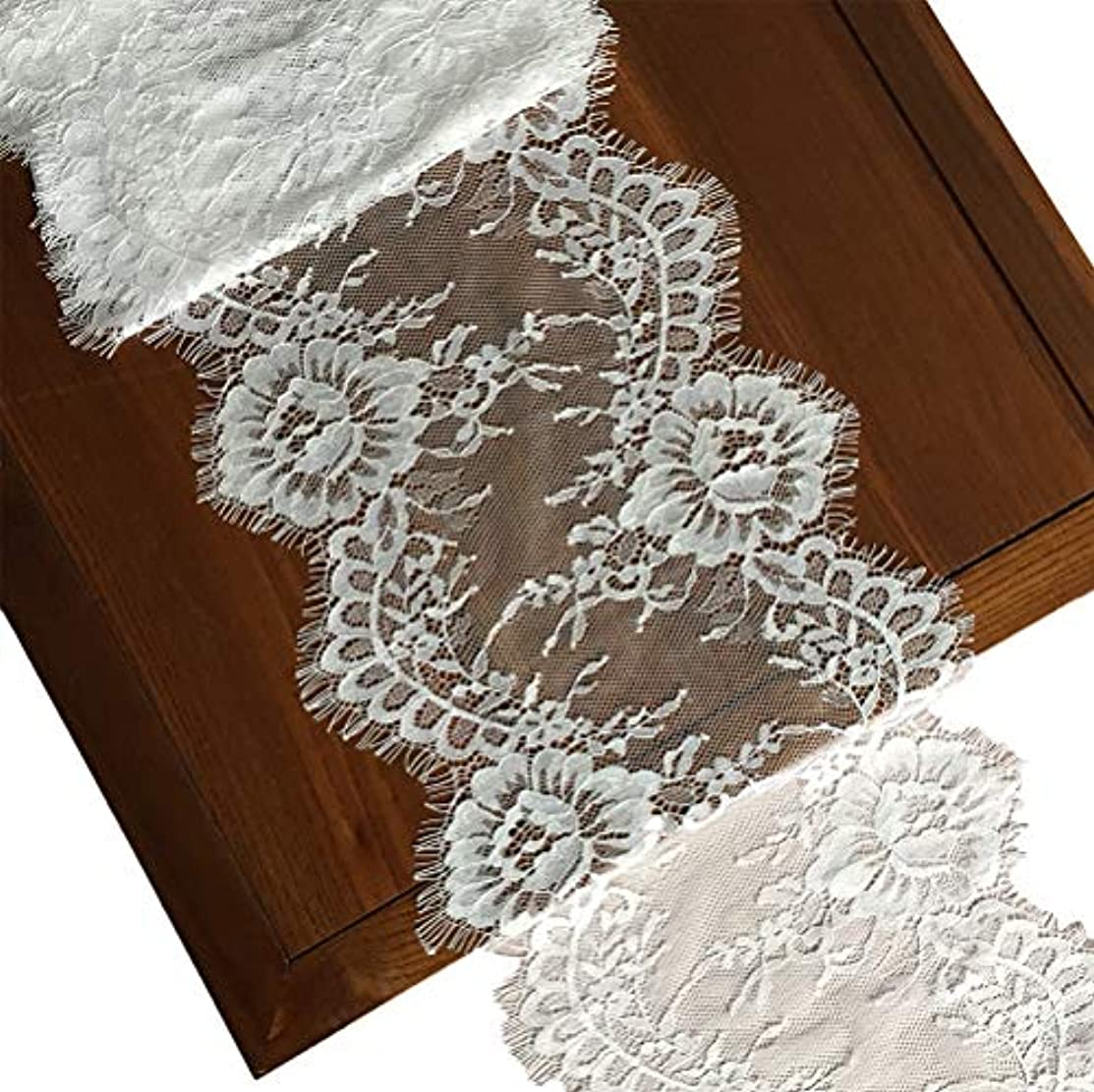 LaceRealm 9 Inch Wide Eyelash Lace Fabric Floral Pattern Lace Trims for Sewing Dress Home Decor Fabric & Textile Paints (White)