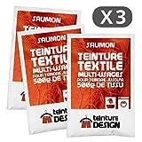 Set di 3 bustine di tintura tessile – arancione salmone – tinture universali per vestiti e tessuti naturali