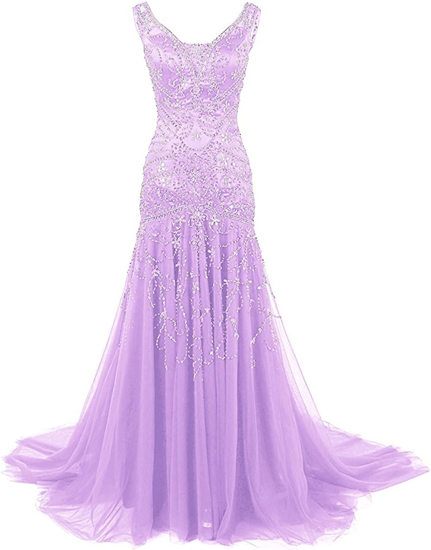 Ellenhouse Women's Long Mermaid Mother of Bride Dress Beaded Prom Ball Gowns
