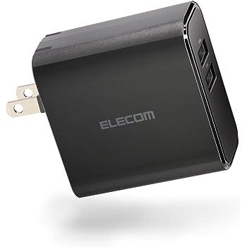 エレコム USB 充電器 ACアダプター 最大4.8A出力 [ iPhone / Android / iPad / IQOS / glo 対応 ] Type-A×2ポート ブラック EC-AC03BK