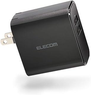 エレコム USB 充電器 ACアダプター 最大4.8A出力 [ iPhone/Android/iPad/IQOS/glo 対応 ] Type-A×2ポート ブラック EC-AC03BK