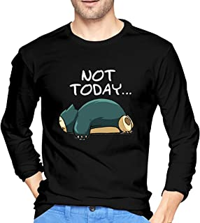 Evmjser Snorlax Not Today Men's Personality Long Sleeve Crewneck Tshirt Tops Black