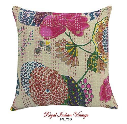 1pc. rivestimenti beige decorazione della casa tessuto artigianale di cotone tessuto cucito cuscino artigianale floreale Kantha ricamato tende tenda indiana mano federa 16 'pollici buttare