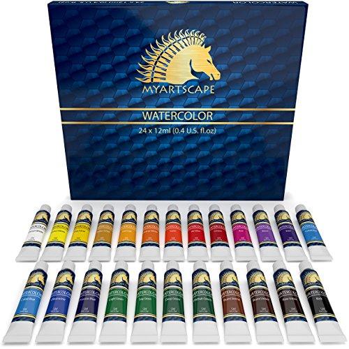 Watercolor Paint Set - Artist Quality Paints - 24 x 12ml Vibrant Colors - Rich Pigments - Professional Supplies by MyArtscape