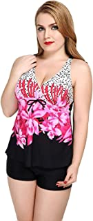 Womens Summer Floral Printed Plus Size Tankini Set with Boyshort Two Piece Sport Swimsuit Swimwear Set with Shorts Soft and Comfortable Without Irritation (Color : Pink, Size : 18)