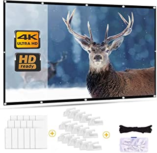 Outry Projector Screen 16:9, Foldable Movie Projector Screen for Home Theater Cinema Outdoor Sport Event, Front and Rear P...