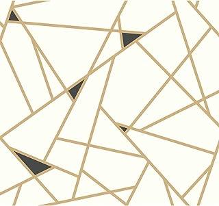 York Wallcoverings Risky Business Geometric Removable Wallpaper, Gold/White - Ultra Easy