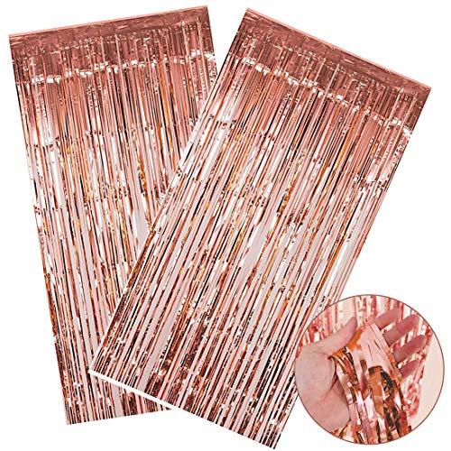 SIMUER Cortina Brillantes 2PCS Oro Rosa Metálica Tinsel Cortinas Shim