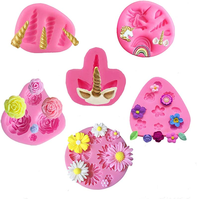Mini Unicorn Mold Set Unicorn Horn Ears Rainbow Flowers Silicone Cake Fondant Mold Cupcake Toppers Mold For Candy Chocolate Fondant Polymer Clay Soap Crafting Projects Cake Decoration