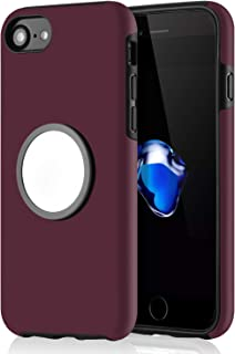 WHOBEE iPhone 7 Case, iPhone 8 Case with Kickstand, Grip Holder Stand Case Slim Dual Layer Hybrid Protective Bumper Cover with Clear Iron Mirror [Fit Magnetic Mount] for iPhone 6, 6s, 7, 8- Wine Red