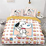 Bettwäsche 155X220 Snoopy Hund Cartoon Tier 1 STK Bettbezug Mit Reißverschluss Und 2 STK 80X80Cm Kissenbezug Weiche Mikrofaser In Hotelqualität 3Teilig Bettwäsche 155 X 220 cm