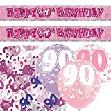 Pink Silver Girl Glitz 90th Birthday Banner Party Decoration Pack Kit Set