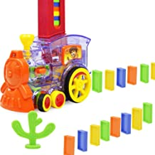 neversaynever Kids Dominoes Set Rally Train Engine Shaped Toy Set Electric Light Effect Automatic Locomotive Domino Building Block Game Set Learning Educational Toy for Toddlers Children