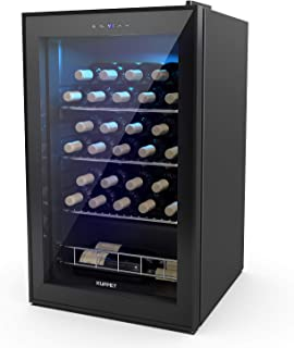 KUPPET 27 Bottles Compressor Freestanding Wine Cooler/Chiller-Red/White Wine, Beer and Champagne Wine Cellar-Digital Temperature Display-Double-layer Glass Door-Quiet Operation
