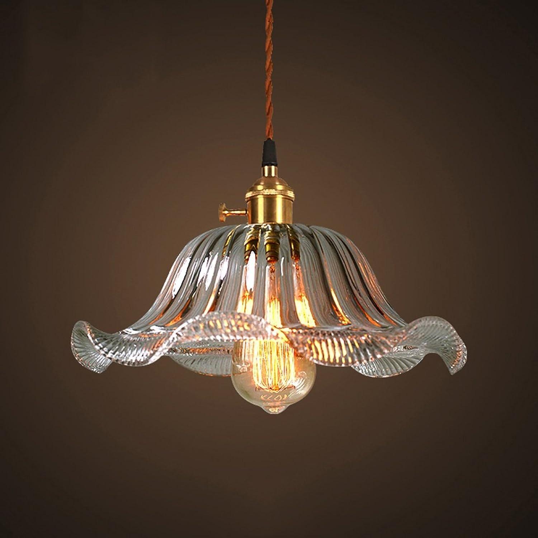 Licht Glas-Kronleuchter, American Style Retro Bar Cafe Bar Farbe Lotus Glas Lampe Deckenleuchte (Farbe   C)
