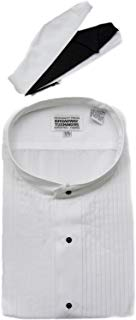 Mens Mandarin No Collar Banded White Tuxedo Shirt by