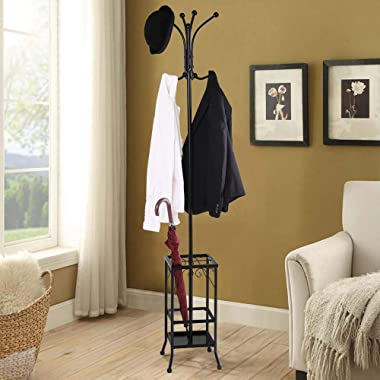 Topeakmart Coat Hat Rack with Umbrella Stand, Hall Tree Hangers 8 Hook Solid Base for Home Office