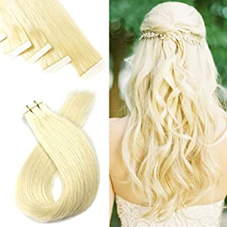 Tape in Hair Extensions Human Hair Invisible Seamless Tape Hair Long Straight Hairpieces for Thin Hair 20pcs Platinum Blonde 20 inch