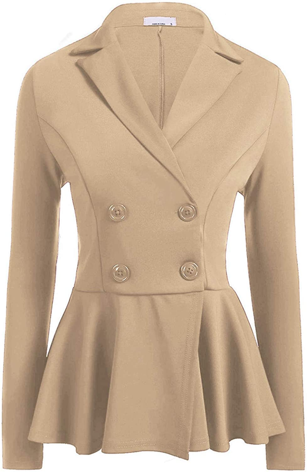 Befily Womens Work Office Open Front Blazer Casual Long Sleeve Jacket with Buttons Khaki
