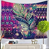 Alicemall Bohemian Colorful Feather Tapestry Boho Beach Throw Dorm Room Wall Hangings Decorative Bedspreads, 60 x 80 inches (Colorful Feather)