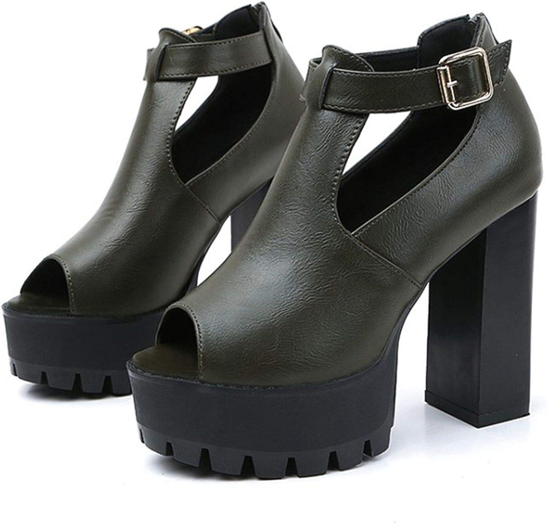 Ruoruo Women Pumps Zipper Black High Chunry Heels Platform Peep Toe Party Dancing shoes Wedding shoes Ladies Sandals