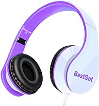 BestGot kids Headphones girls Over Ear with microphone for kids adult In-line Volume with Transport Waterproof Bag Foldable Headphone with 3.5mm plug removable cord (White/Purple)