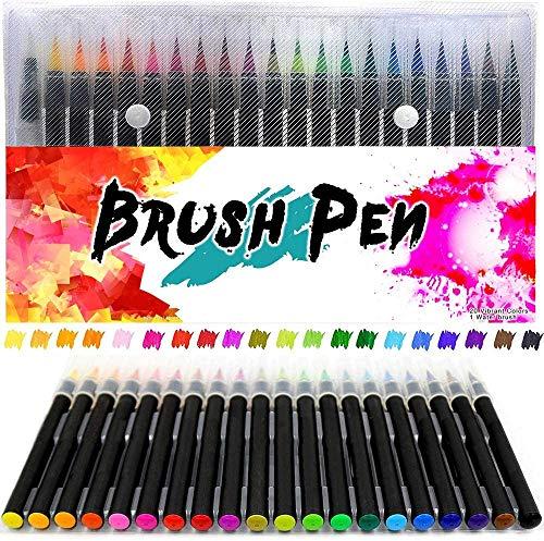 Huttoly Brush Pen Set 20+1 Watercolor Pinselstifte, Aquarellstifte 20 Farben und einem befüllbaren Wassertankpinsel für Kalligraphie, Malen, Hand-Lettering, Zeichnungen und Geschenk (Farbe eins)