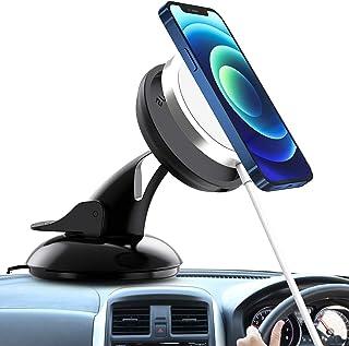 OWKEY für Magsafe Autohalterung, Verbesserte Doppelabsaugung 360 Grad Drehung Dashboard Handy Schreibtisch Ständer Halterung mit VHB Klebebefestigungsbasis Ladegerät Halterung für iPhone 12 Serie