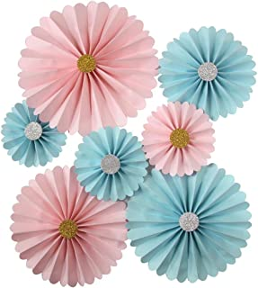 Mybbshower Pink Blue Gender Reveal Rosette DIY Kit Wedding Backdrop Nursery Wall Home Decor Paper Pinwheels Pack of 7
