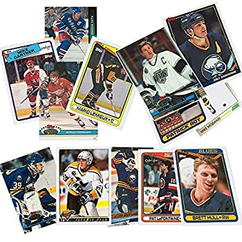 40 Hockey Hall-of-Fame and Superstar Cards Collection Including Mario Lemieux Wayne Gretzky Jaromir Jagr Ray Bourque Patrick Roy Mats Sundin Mark Messier Steve Yzerman Teemu Selanne Brett Hull Joe Sakic and Nicklas Lidstrom Ships in Protective Plastic Case Perfect for Gift Giving.