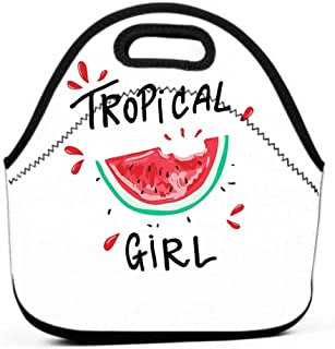 Lunch Bag for Women,Sturdy Lunch Box Tote Easy Cleaning Water-resistant Lunch tropical girl slogan watermelon graphic print design tropical girl slogan watermelon graphic design