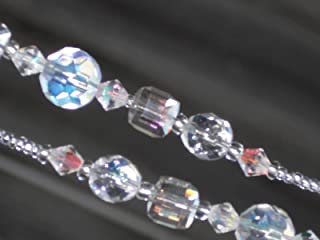 Eyeglass Chain AB Clear Crystal Faceted Cut Glass 28 inches Handmade NEW