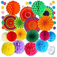 Package includes: contains 6 x paper fans, 4 x tissue paper flowers, 4 x honeycomb orbs, 2 x honeycomb paper flowers, 1 x Snowflake paper fan, 1 x Hollow paper fan, 1 dot garland and 1 ribbon egg, 20 pieces in total; attached with strings for easy ha...