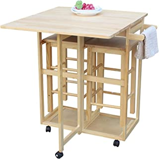 SANGDA Wood Kitchen Cart, Folding Dining Cart with 2 Stools Kitchen Island Storage Trolley Utility Cart Rolling Breakfast ...