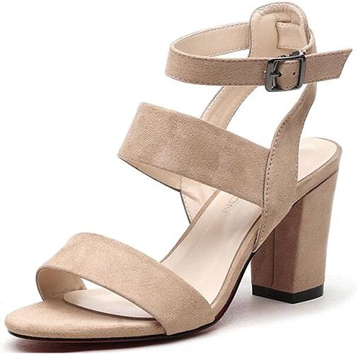FEI Sandales Sandales Femmes Chaussures PU Printemps Eté Club Chaussures Wedge Heel Open Toe Buckle pour Casual Dress Antidérapant (Couleur   Beige, Taille   EU39 UK6.5 CN40)