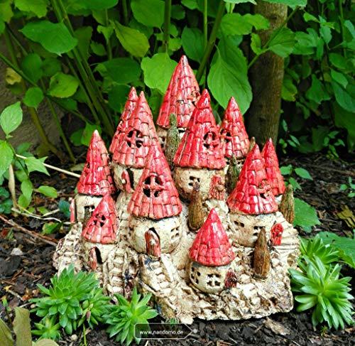 Wichteldorf Keramik Feengarten Elfenland beige rot Gartendeko Sommer