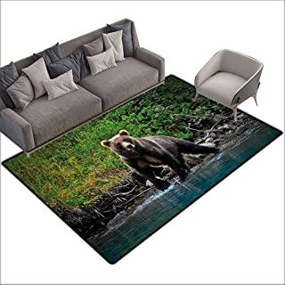 Anti-Slip Cooking Kitchen Carpets Cabin Decor,Grizzly Brown Bear in Lake Alaska Untouched Forest Jungle Wildlife Image,Green Brown Blue 48