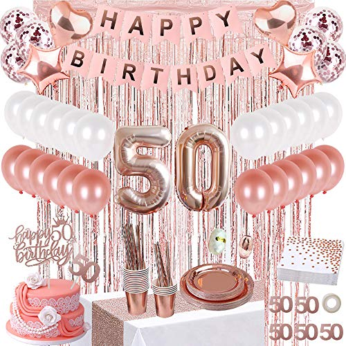 JSN PARTY 50th Birthday Decorations for Women, Rose Gold 50 Birthday Party Supplies, Happy Birthday Banner, Table Runner, Fringe Curtains, Cake Topper, Plates, Napkins, Cups and More for 24 Guest
