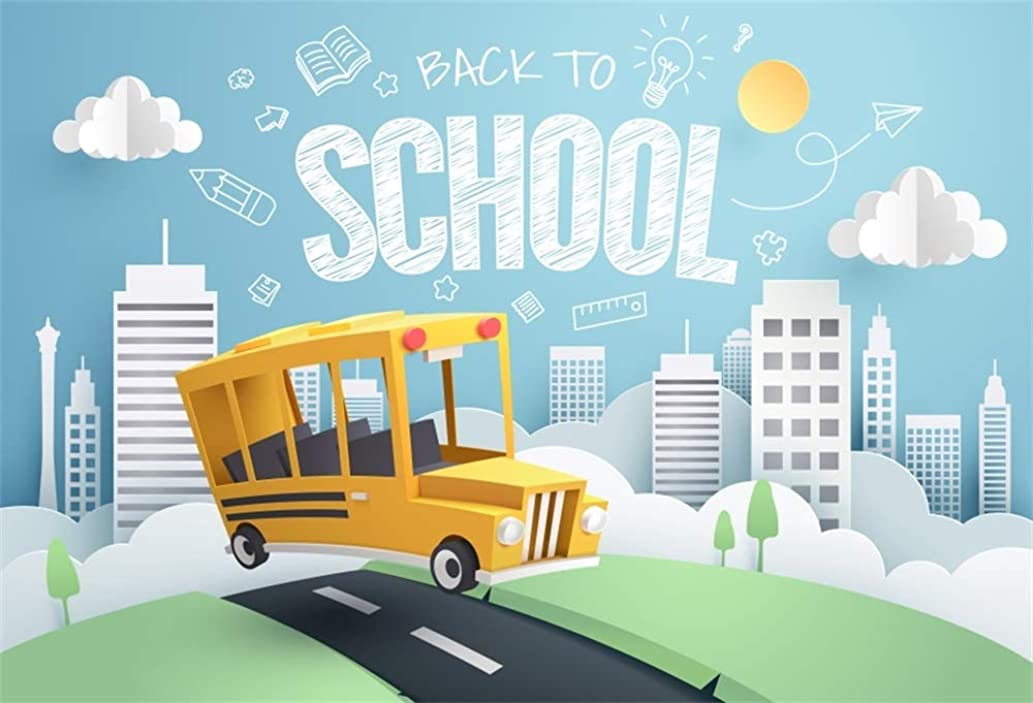 AOFOTO 8x6ft School Bus Backdrop High Way Green Grassland Tall Bulidings Blue Sky White Cloud Back to School Spring Landscape Photography Background Kindergarten Primary School Vinyl Photo Booth Prop