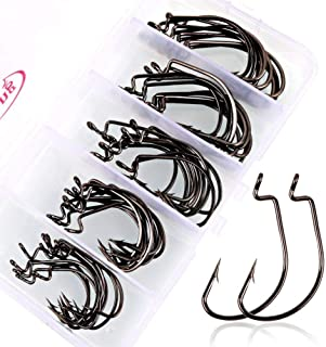 Sougayilang Fishing Hooks High Carbon Steel Worm Soft Bait Jig Fish Hooks with Plastic Box