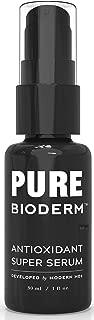 Pure Bioderm Antioxidant Facial Serum - Vitamin C + Ferulic Acid Serum for Firmer & Radiant Skin | Gentle & Effective | Wrinkle, Dark Spot, Anti Aging Serum | Dermatologist Developed | Made In USA