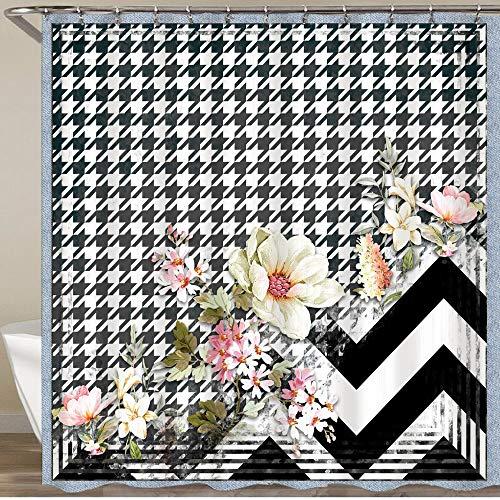 KGSPK Duschvorhang,Schöne stilvolle Blumen & Schwarze Hahnentritt-Plaid-Wellenstreifen,Wasserfeste Bad Vorhang aus Polyestergewebe mit 12 Haken Duschvorhang 180x180cm