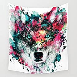 """Multicolor Wolf Staring at The Front Painting Wall Hanging Tapestry with Romantic Pictures Art Nature Home Decorations for Living Room Bedroom Dorm Decor (51"""" H x 60"""" W, Wolf)"""