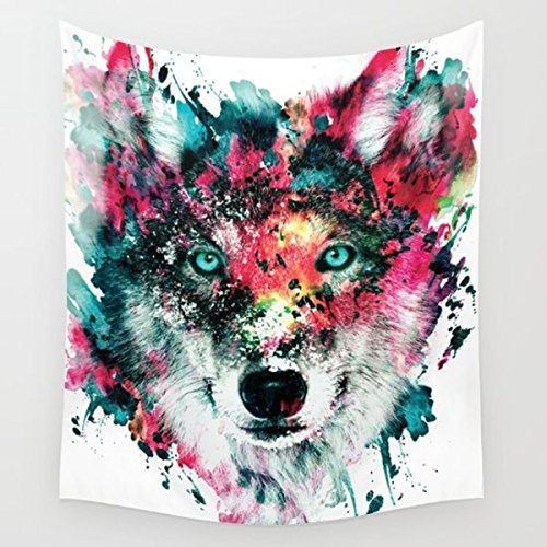 Shukqueen Multicolor Wolf Staring at The Front Painting Wall Hanging Tapestry with Romantic Pictures Art Nature Home Decorations for Living Room Bedroom Dorm Decor (60' H x 80' W, Wolf)
