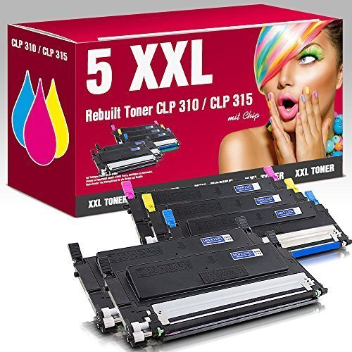 ms-point® Multipack 5x XXL Rebuilt Toner für Samsung ersetzt CLT-K4092S CLT-C4092S CLT-M4092S CLT-Y4092S CLP-310 CLP-310N CLP-315 CLP-315W CLX-3170FN CLX-3175FN CLX-3175FW CLX-3175 CLX-3175N