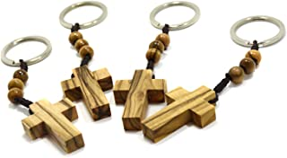 Authentic Olive Wood Cross Keyring with Three Rosary Beads for Faith Hope & Charity