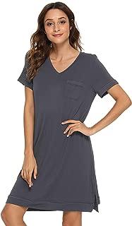 Women's Short Sleeve V Neck Bamboo Nightgown