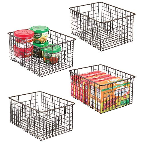 mDesign Farmhouse Decor Metal Wire Food Storage Organizer Bin Basket with Handles - for Kitchen Cabinets, Pantry, Bathroom, Laundry Room, Closets, Garage - 12 x 9 x 6 - 4 Pack - Bronze